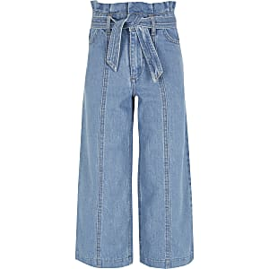 Alexa - Blauwe cropped jeans met brede pijpen voor meisjes