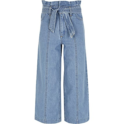 Girls blue Alexa wide leg crop jeans