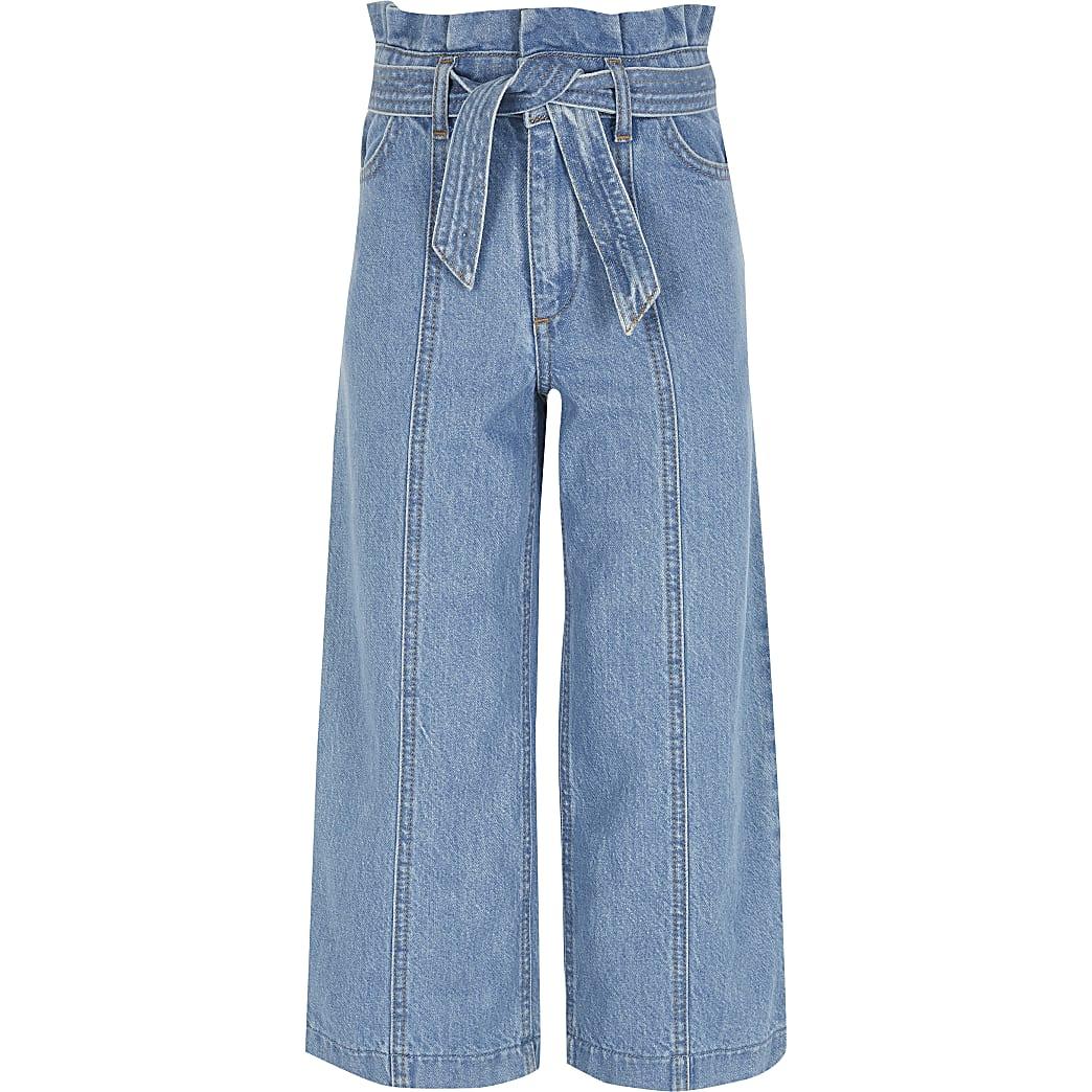 Girls blue Alexa wide leg crop jeans