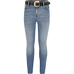 Amelie – Blaue Skinny Jeans mit Gürtel für Mädchen