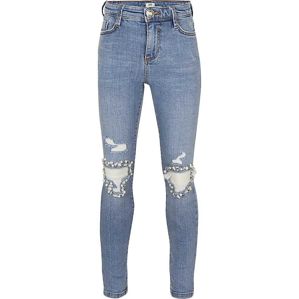Girls blue Amelie diamante rip jeans