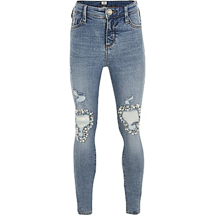 Girls blue Amelie embellished mid rise jeans