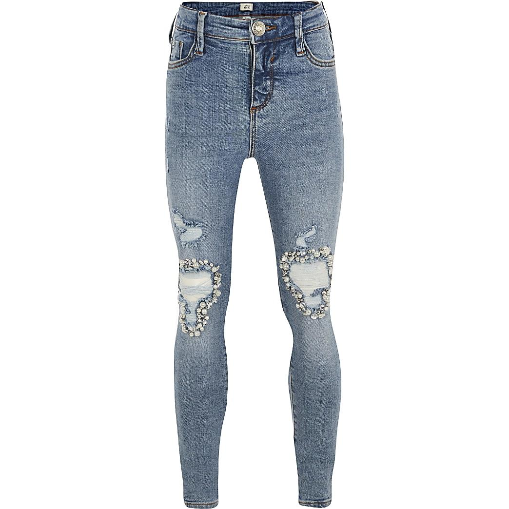 Girls blue Amelie embellished mid rise jeans
