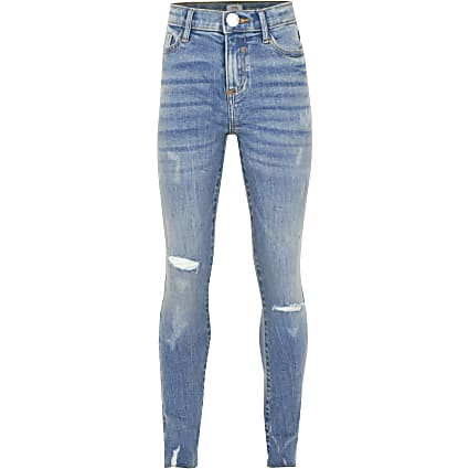 Girls blue Amelie ripped skinny fit jeans