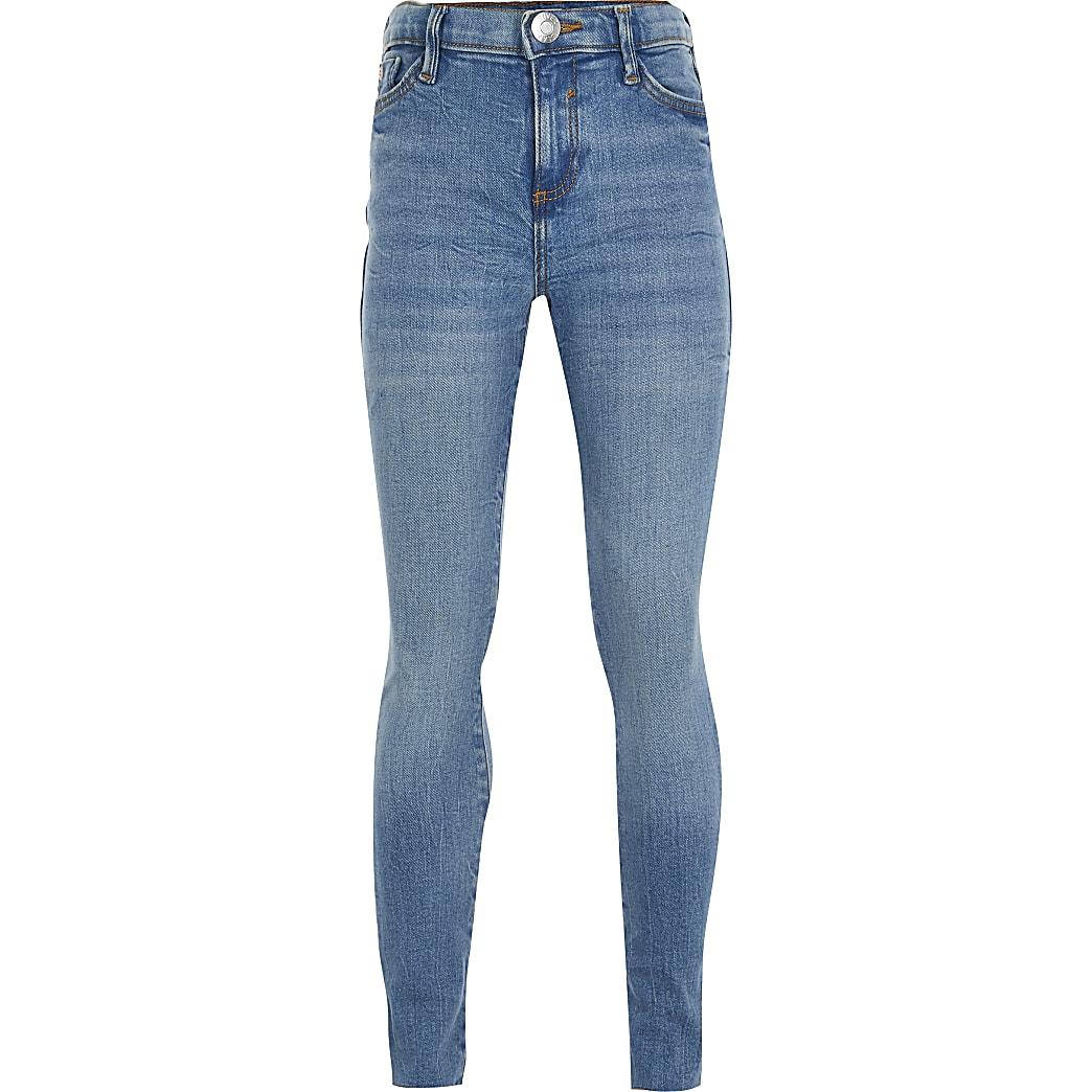 Girls blue Amelie skinny fit jeans