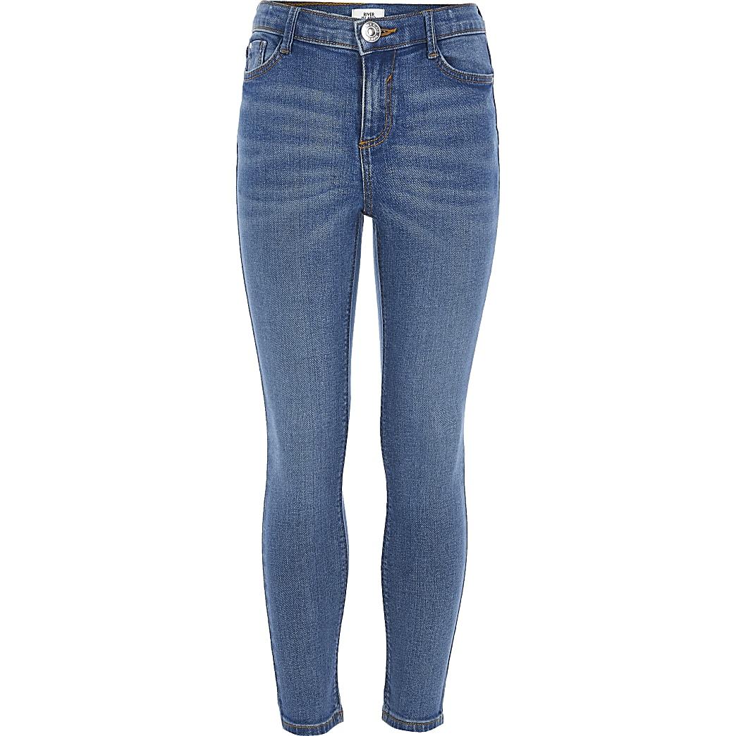 Blauwe skinny-fit stretch Amelie jeans voor meisjes