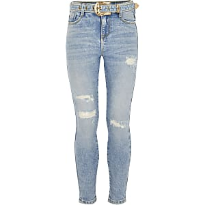 Blauwe Amelie jeans met western gesp voor meisjes