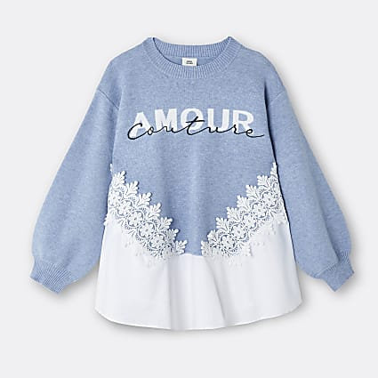 Girls blue 'Amour Couture' lace trim jumper