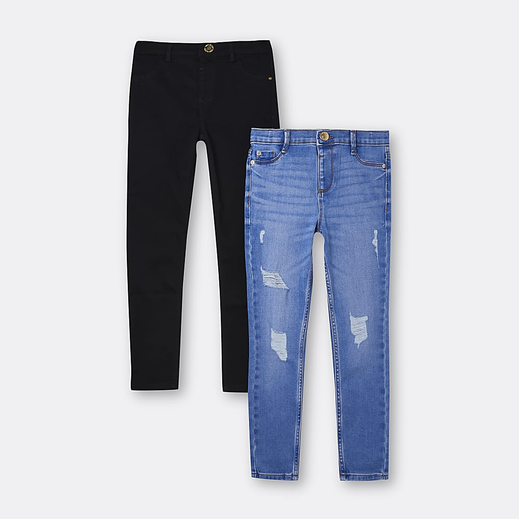 Girls blue and black skinny jeans 2 pack