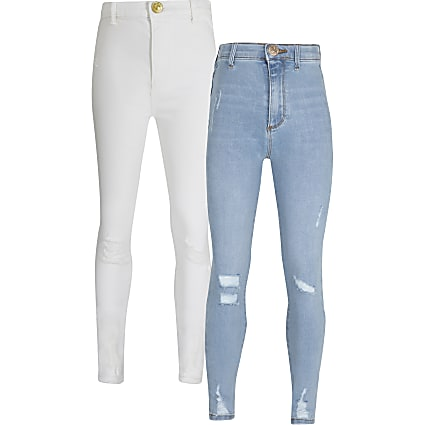 Girls blue and white high rise jegging 2 pack