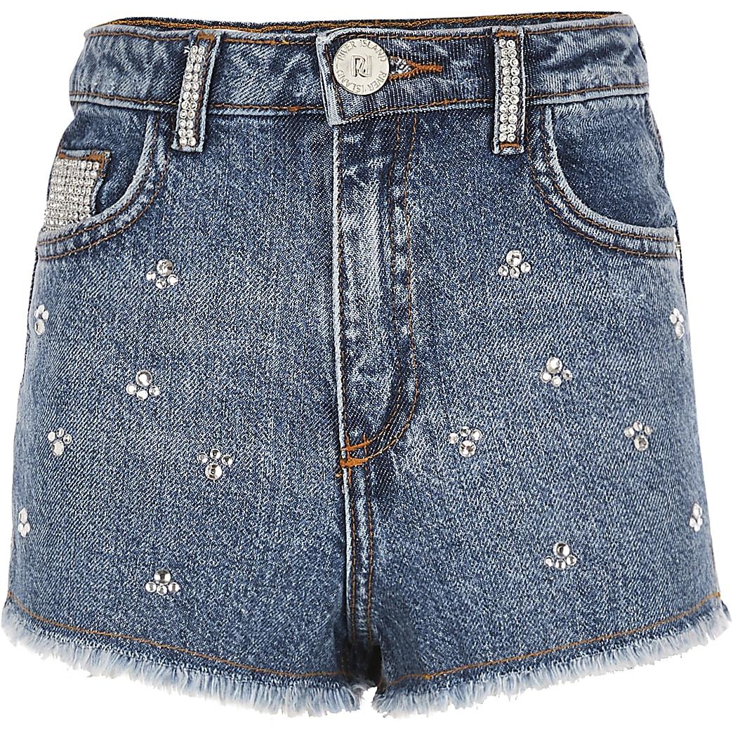 Girls blue Annie embellished denim shorts
