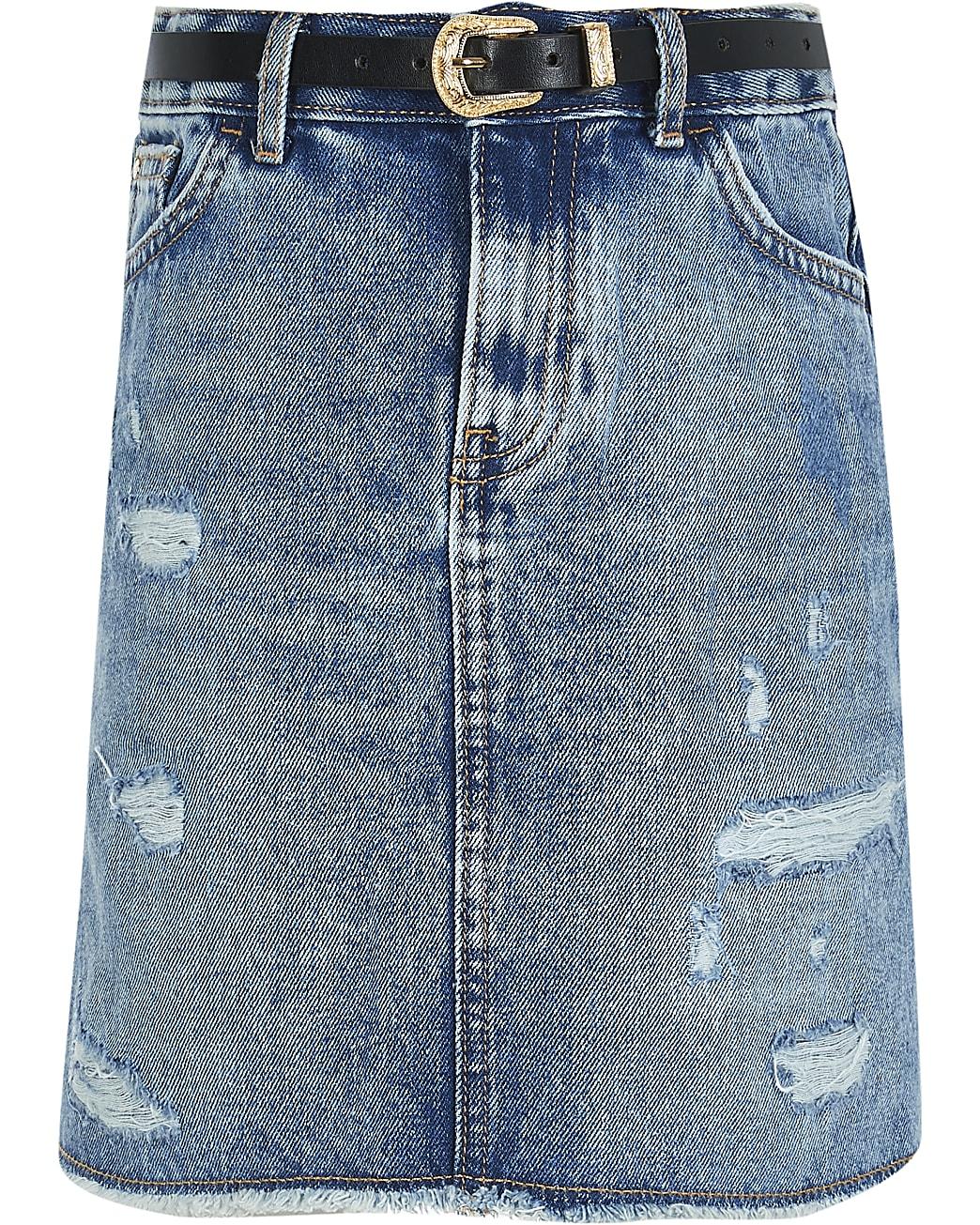 Girls blue authentic wash denim skirt