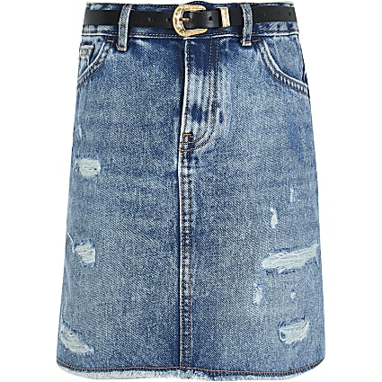 Girls blue authentic wash denim skirt