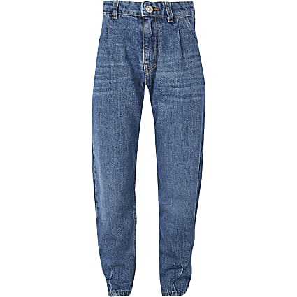 Girls blue balloon leg high rise Mom jeans
