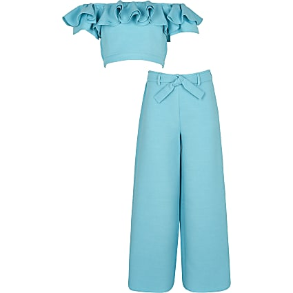Girls blue bardot top and trousers outfit
