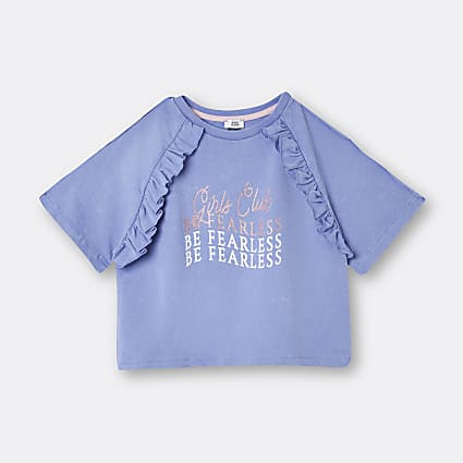 Girls blue 'Be Fearless' frill t-shirt