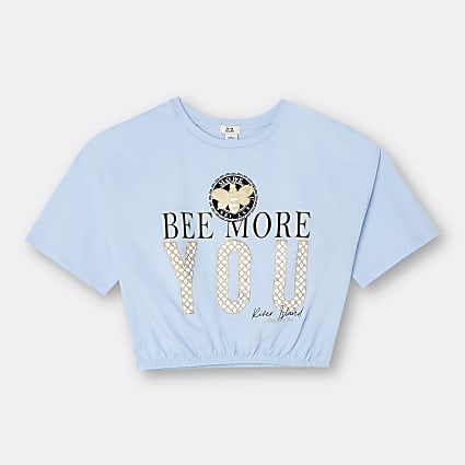 Girls blue 'Be More You' cinched t-shirt