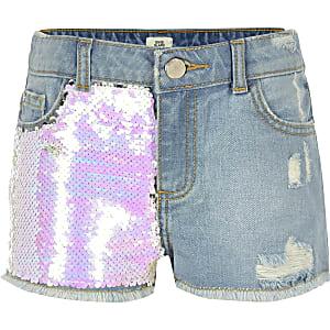 Becca – Blaue, paillettenverzierte Shorts