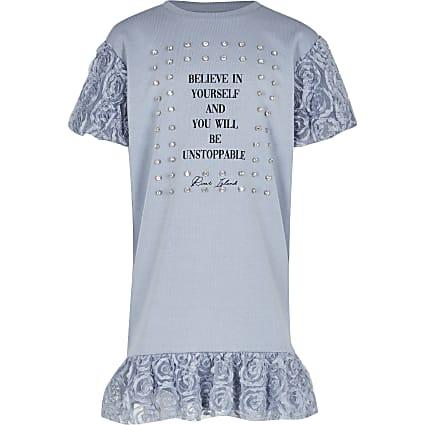 Girls blue 'Believe in yourself' tshirt dress