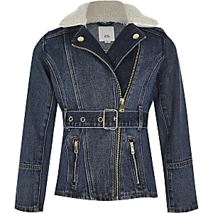 Girls blue belted borg collar denim jacket