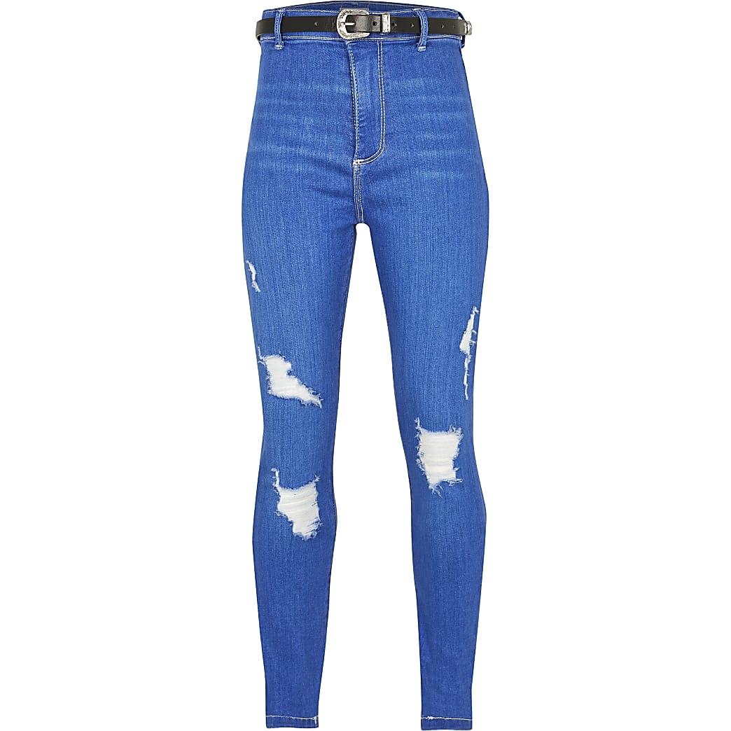 Girls blue belted high rise skinny jean