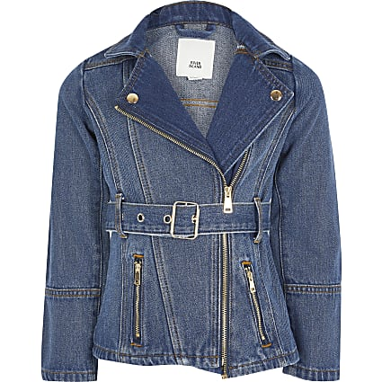 Girls blue belted longline denim jacket