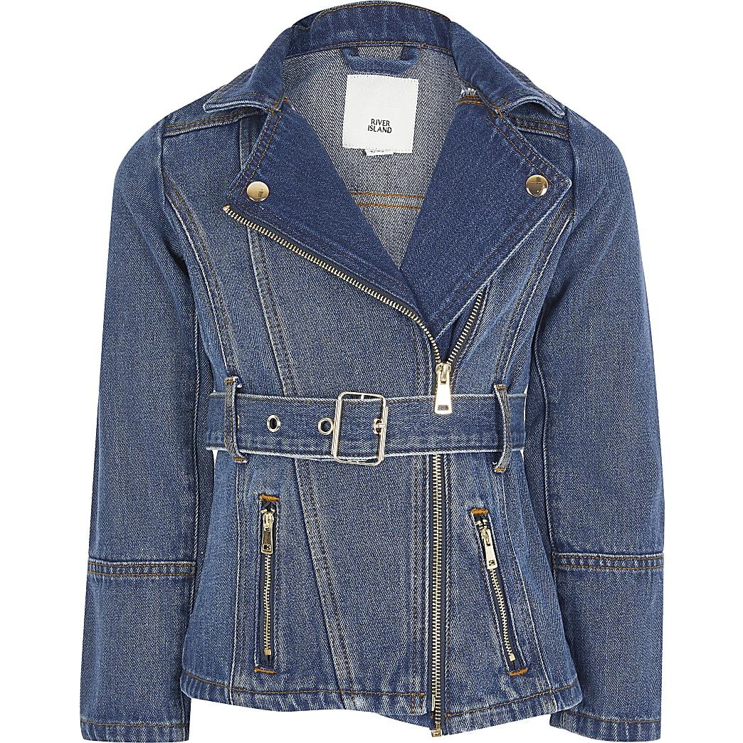 Girls blue belted longline denim jacket
