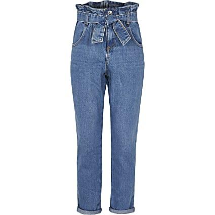 Girls blue belted paperbag jeans