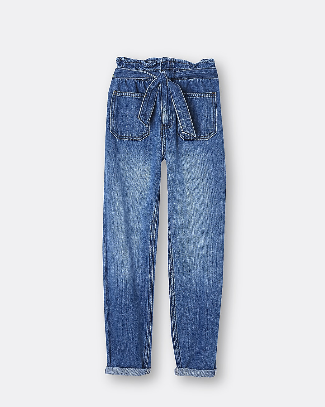 Girls blue belted pull on paperbag jeans