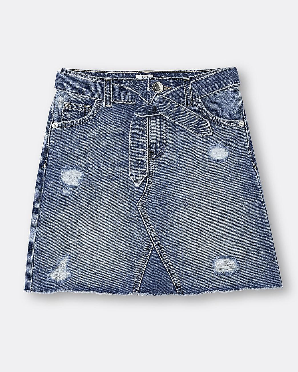Girls blue belted ripped detail denim skirt