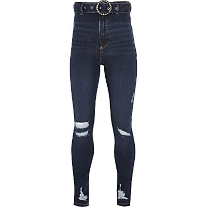 Girls blue belted skinny high rise jean