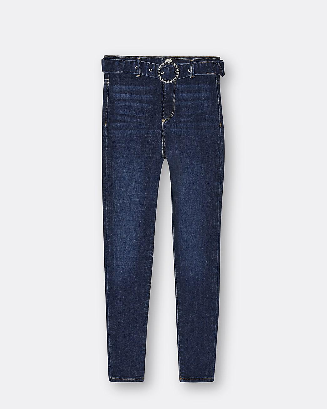 Girls blue belted skinny jeans