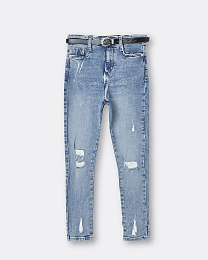Girls blue belted skinny rip jean