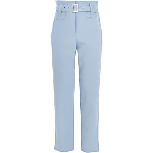 Girls blue belted twill trousers