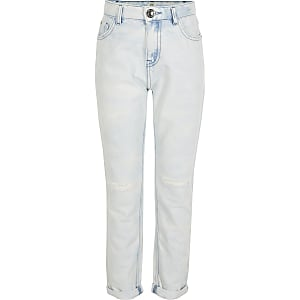 Gebleichte High-Rise-Mom-Jeans in Blau