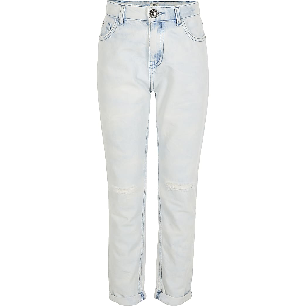 Girls blue bleached Mom high rise jeans