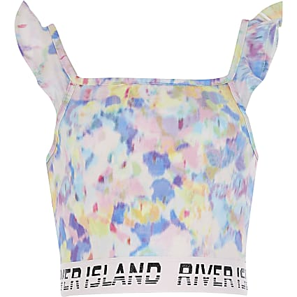 Girls Blue Blurred Print Frill Crop