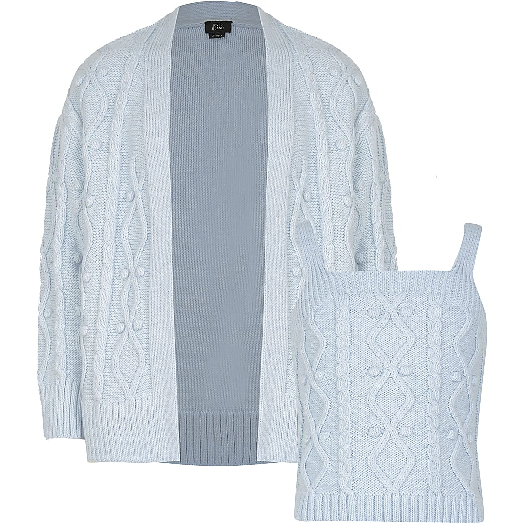 Girls blue bobble cami and cardigan set
