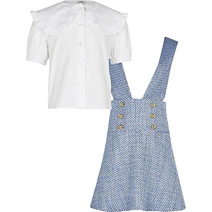 Girls blue boucle 2 in 1 dress set