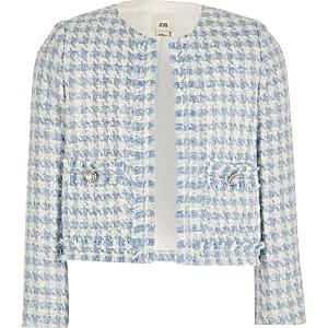 Blauw bouclé jack voor meisjes