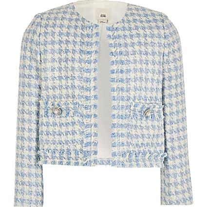 Girls blue boucle jacket