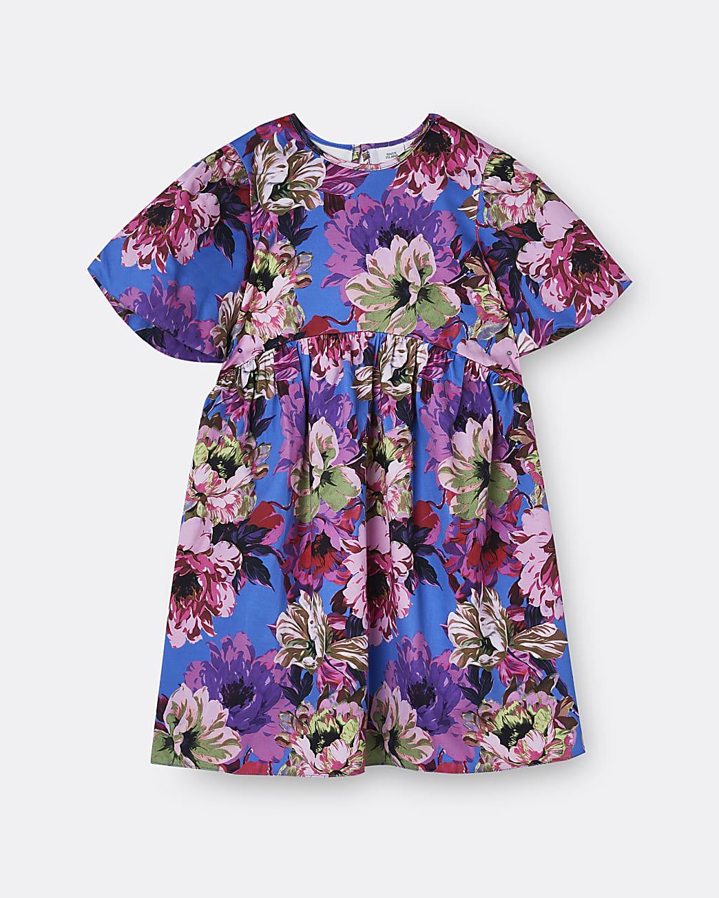 Girls blue bow back floral smock dress