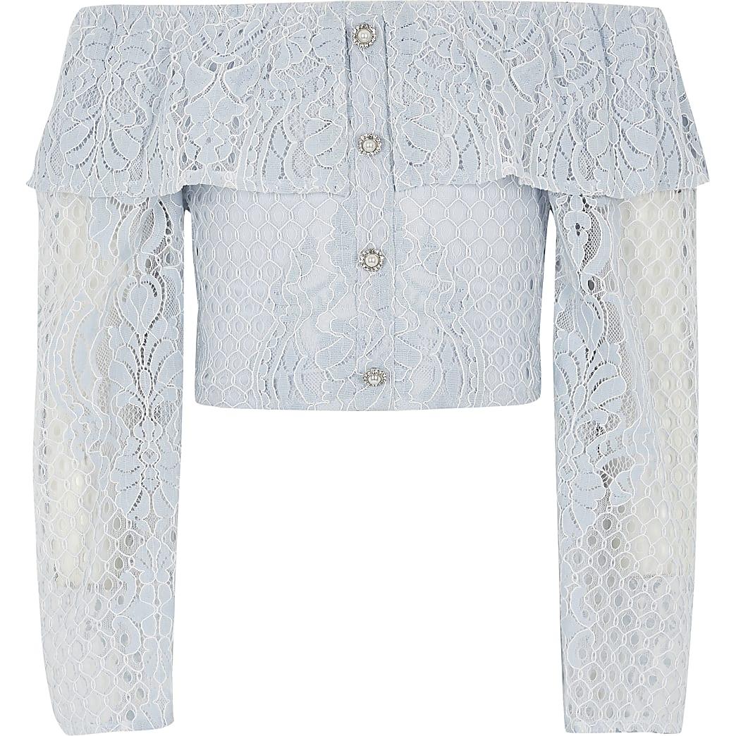Girls blue broderie long sleeve bardot top