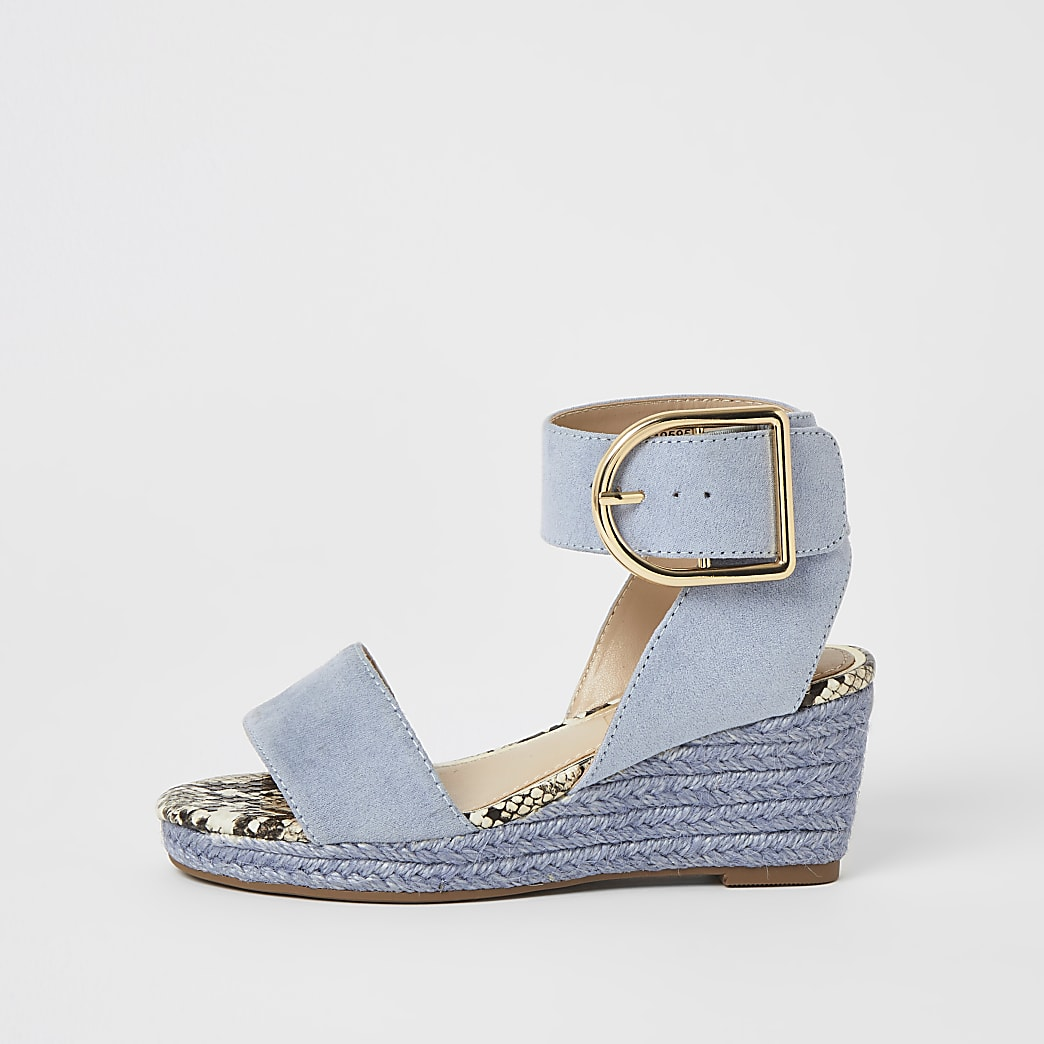 Girls blue buckle wedge sandals