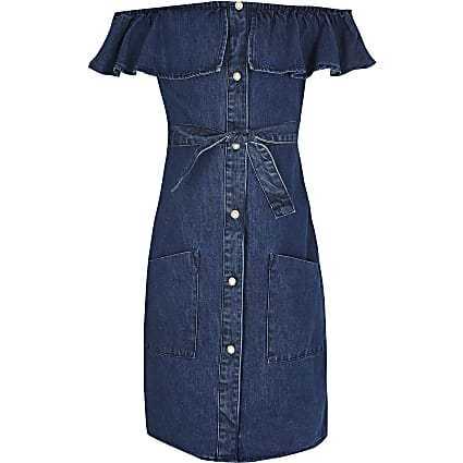 Girls blue button front bardot denim dress