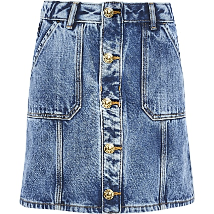 Girls blue button front denim A line skirt