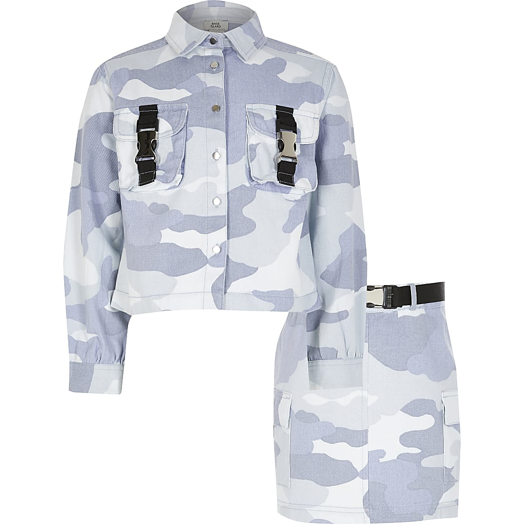 Girls blue camo shacket and skirt outfit