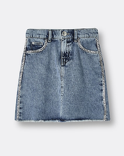Girls blue chain detail denim skirt