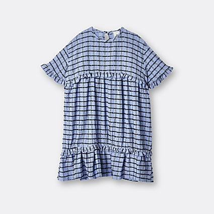 Girls blue check dress