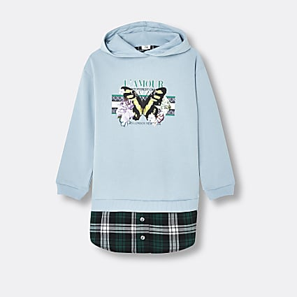 Girls blue check print hooded sweater dress